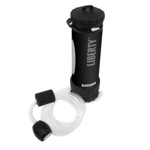 Black LifeSaver Liberty water purifier bottle with scavenger hose